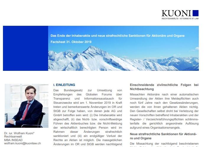 Das Ende der Inhaberaktie und neue strafrechtliche Sanktionen für Aktionäre und Organe