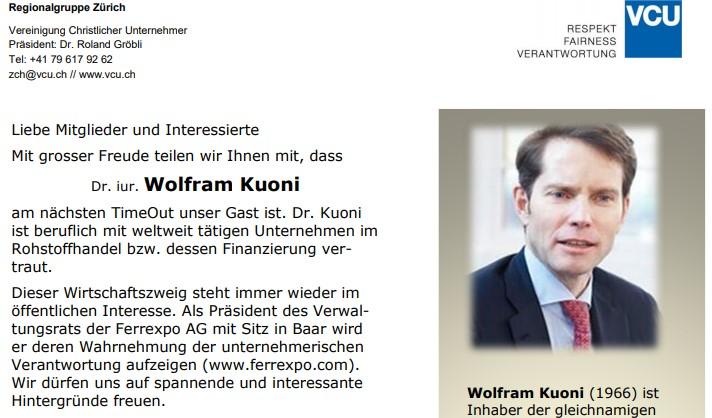TimeOut Gastauftritt Dr. Wolfram Kuoni
